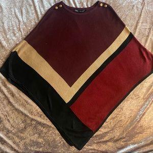 White House Black Market Color block Knit Poncho M